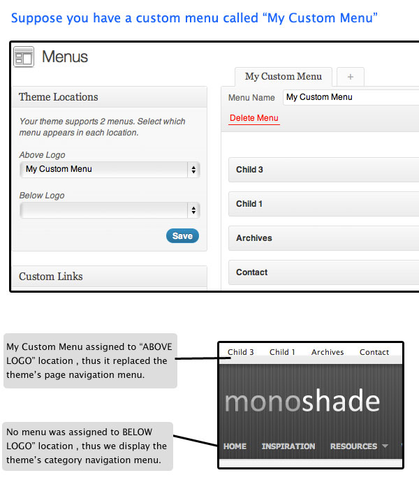 WordPress Custom Menu support