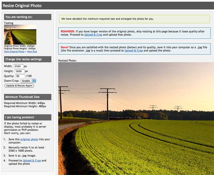 Resize tool for cropping purpose